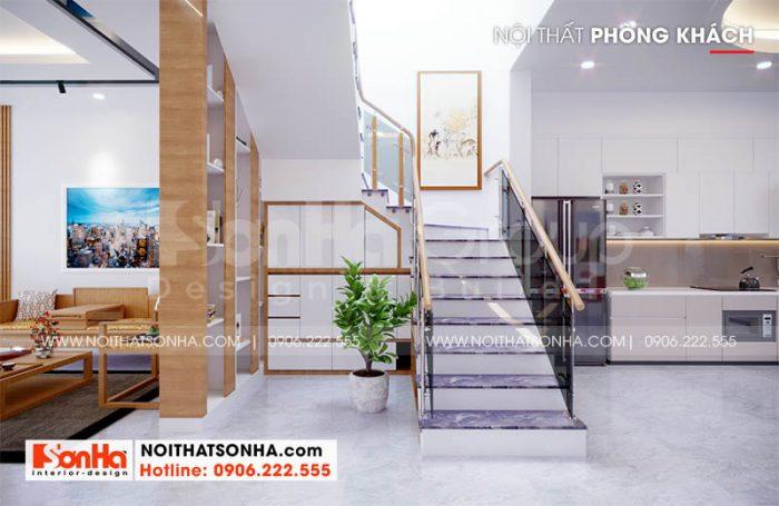 Thiết kế phòng khách và bếp ăn trong không gian nhà phố Hoàng Huy Mall Hải Phòng