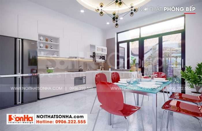 Thiết kế bếp hiện đại trong thiết kế nhà phố Hoàng Huy Mall tại Hải Phòng