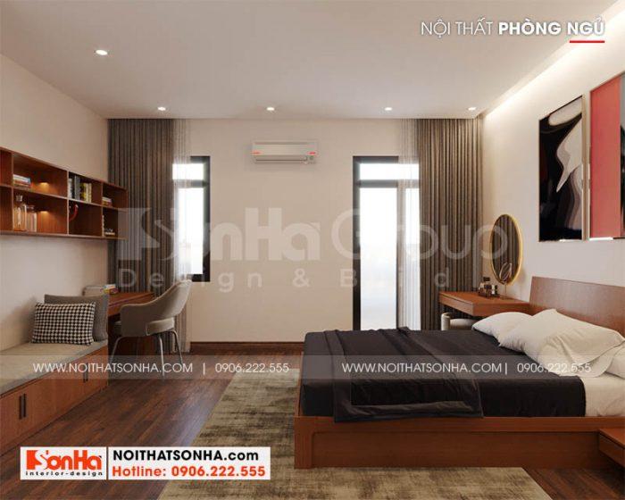 Phòng ngủ trong thiết kế nhà phố Hoàng Huy Mall 4 tầng tại Hải Phòng